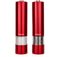 Savisto Electronic Illuminated Salt & Pepper Mill Grinders in Red