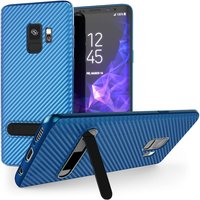 Caseflex Samsung Galaxy S9 Ultra Thin Slim Carbon Fibre TPU With Stand - Blue