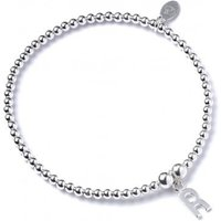 Initial R Charm With Sterling Silver Ball Bead Bracelet