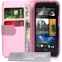 YouSave Accessories HTC One M7 Leather-Effect Wallet Case - Baby Pink