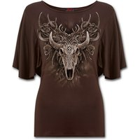 Horned Spirit Women's 3XL Boat Neck Bat Sleeve Top - Chocolate Brown
