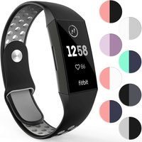 YouSave Activity Tracker Silicone Sports Strap - Black & Grey (Large)