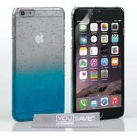 YouSave Accessories iPhone 6 Plus / 6s Plus Raindrop Hard Case - Blue/Clear