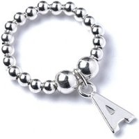 Initial A Charm With Sterling Silver Ball Bead Ring