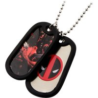 Marvel Comics Deadpool Logo & Pose Dog Tags with Black Rubber Rims
