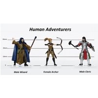 Human Adventurers Group of 3 - Set B - 28mm Pre-painted Plastic Miniatures