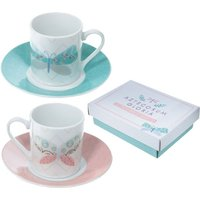 Butterfly Set of 2 Espresso Cup and Saucer