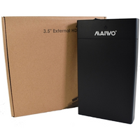 Maiwo USB 3.0 3.5 inch External Hard Drive Enclosure- Black - With Power Adapter