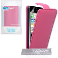 YouSave Accessories iPhone 5c PU Leather Flip Case - Hot Pink