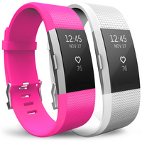 Yousave Hot Pink/White Activity Tracker Strap - Small (2 Pack)