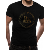 Lord Of The Rings - Gold Foil Logo Men's Small T-Shirt - Black