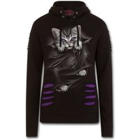 Bright Eyes Women's Medium Ripped Hoodie - Purple/Black