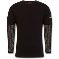 MetalStreetwear Mesh Sleeve Zip Shoulder Men's Large Long Sleeve T-Shirt - Black