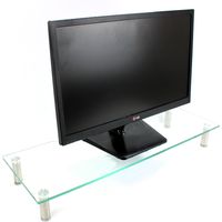 Glass Monitor & TV Screen Display Stand Riser With Adjustable Legs Green House Clear Large