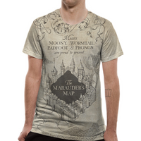 Harry Potter - Marauders Map Sublimated Men's X-Large T-Shirt - White