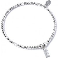 Initial E Charm With Sterling Silver Ball Bead Bracelet