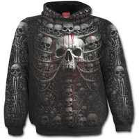 Death Ribs Allover Men's Large Hoodie - Black