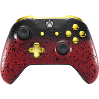 3D Red Shadow & Gold Xbox One S Controller