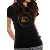Lord Of The Rings - Gold Foil Logo Women's Large T-Shirt - Black