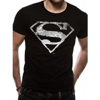 Superman Logo Mono Distressed Small T-Shirts