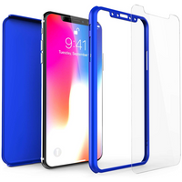 Apple iPhone X Shockproof Hybrid 360 With Glass Screen Protector - Blue