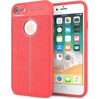 iPhone 8 Auto Camera Focus Leather Effect Gel Case - Red