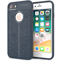 iPhone 8 Auto Camera Focus Leather Effect Gel Case - Blue