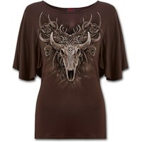 Horned Spirit Women's XX-Large Boat Neck Bat Sleeve Top - Chocolate Brown
