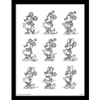 Minnie Mouse - Sketched - Multi Framed 30 x 40cm Print