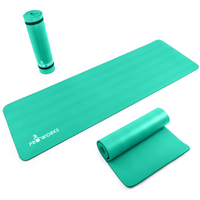 Proworks Large 10mm Thick Padded Yoga Mat With Carry Handle in Green
