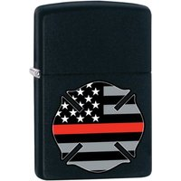 Zippo Flag Red Line Design Black Matte Finish Windproof Lighter