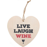 Live, Laugh, Wine Hanging Heart Sign