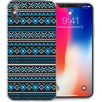 CASEFLEX APPLE IPHONE X FAIR ISLE AZTEC - BLUE/BLACK CASE / COVER (3D)