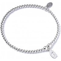 Initial G Charm With Sterling Silver Ball Bead Bracelet