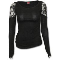 Gothic Elegance Shoulder Lace Women's Small Long Sleeve Top - Black
