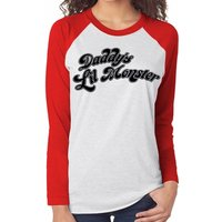 Suicide Squad - Daddys Little Monster Women's Large Baseball Shirt - Black
