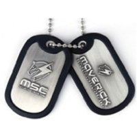 Metal Gear Solid Rising Dog Tags with Maverick Logo and Rubber Rim