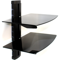 Tempered Black Glass Floating Shelf Wall Mount Consoles/DVD players M&W 2 Tier
