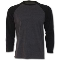 Urban Fashion Raglan Contrast Men's Medium Long Sleeve T-Shirt - Black