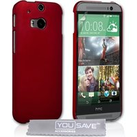 YouSave Accessories HTC One M8 Hard Hybrid Case - Red