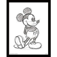 Mickey Mouse - Sketched - Single Framed 30 x 40cm Print