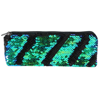 Matte Black and Green Reversible Sequin Pencil Case Pack Of 12