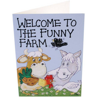 Pack of 6 Welcome To The Funny Farm Smiley Cards