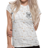 Harry Potter - Hedwig Pattern Sublimated Women's Large T-Shirt - White