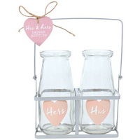 His & Hers Glass Bottle Set