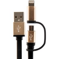 Urbanz INC-TWLC-BK 2 in 1 USB Charging Cable 1M Micro USB and Lightning to USB - Black