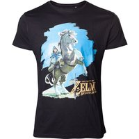 Legend of Zelda Breath of the Wild - Link on his Horse Men's X-Large T-Shirt - Black