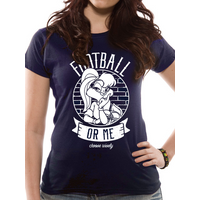 Looney Tunes - Football Women's Small Fitted T-Shirt - Blue