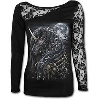 Dark Unicorn Lace One Shoulder Women's XX-Large Long Sleeve Top - Black