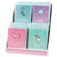 Set of 32 Unicorn and Mermaid Cards with Pin Badges